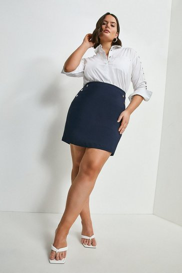 Navy Curve Essential Techno Cotton Skirt