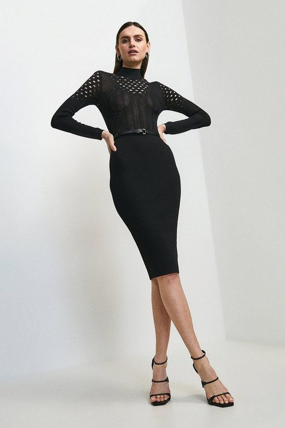 Black Belted Open Stitch Knitted Dress