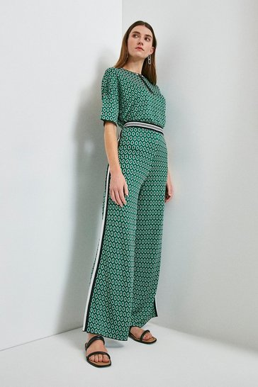Green Geo Wide Leg Knitted Trouser