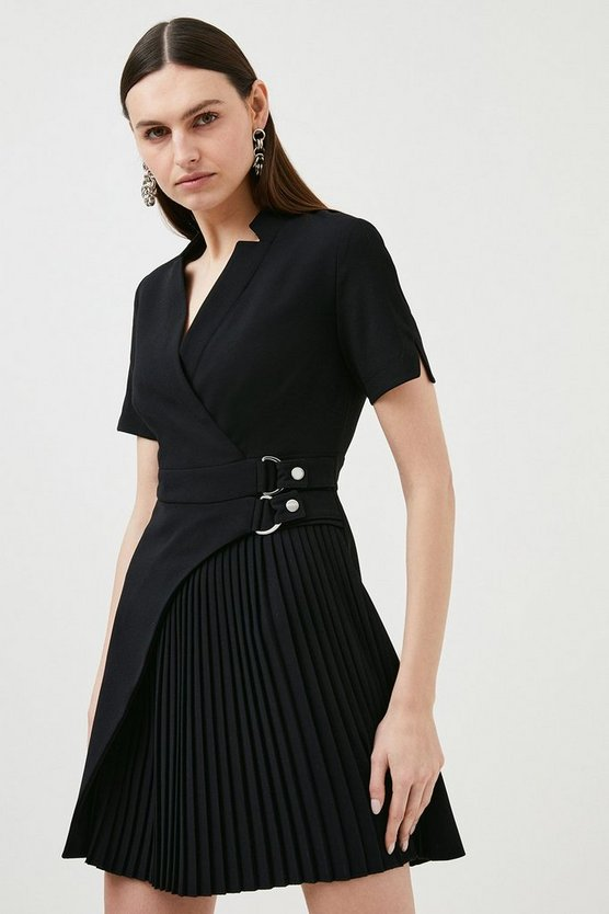 Black Military Pleat Notch Neck Wrap Dress