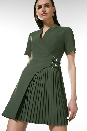 Khaki Military Pleat Notch Neck Wrap Dress