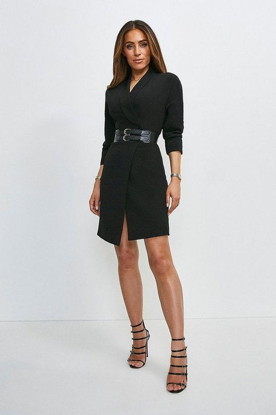 Black Viscose Satin Crepe Sleeved Belted Dress