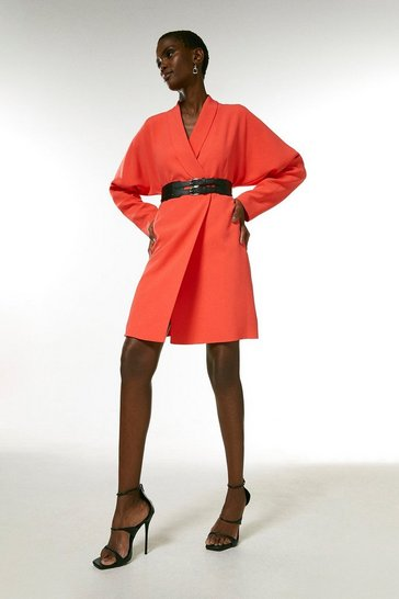 Coral Viscose Satin Crepe Sleeved Belted Dress