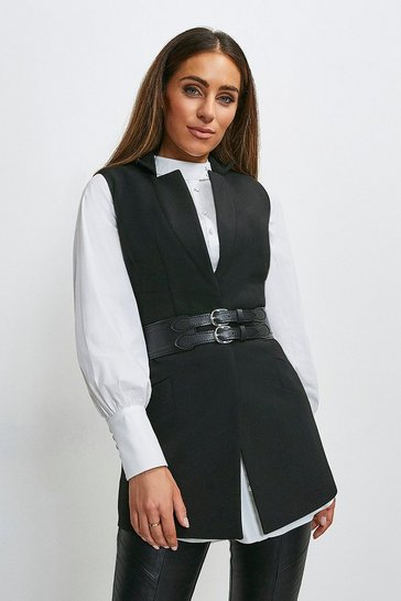 Black Compact Stretch Forever Sleeveless Jacket
