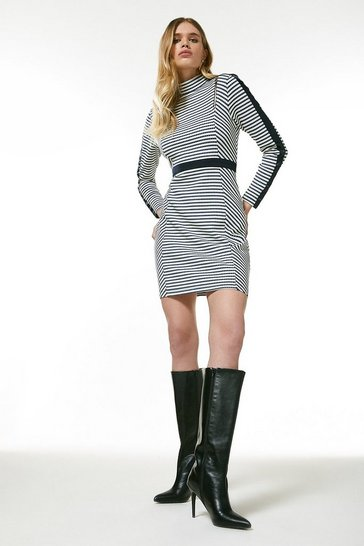 Blue Stripe Jersey Rib Zip Dress