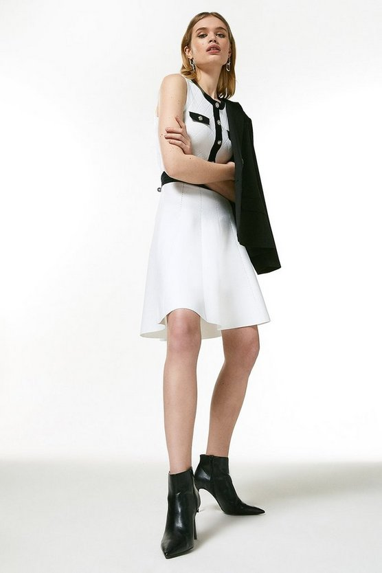 Blackwhite Quilt Stitch Military Knitted Skater Dress