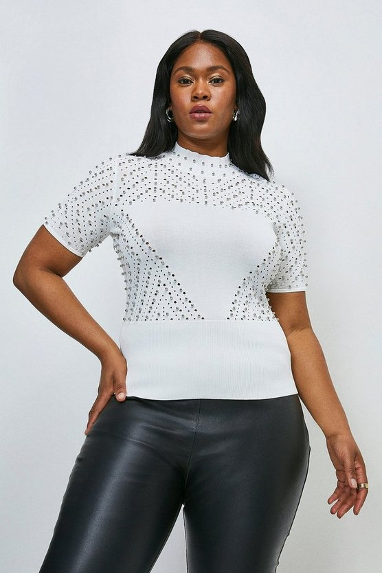 Ivory Curve Embellished Pointelle Knit Top