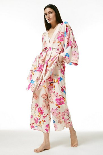 Cream Floral Nightwear Wrap