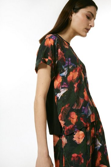 Coral Neon Rose Nightwear Jersey Back Top