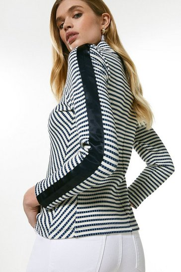 Blue Long Sleeve Stripe Jersey Rib Zip Top