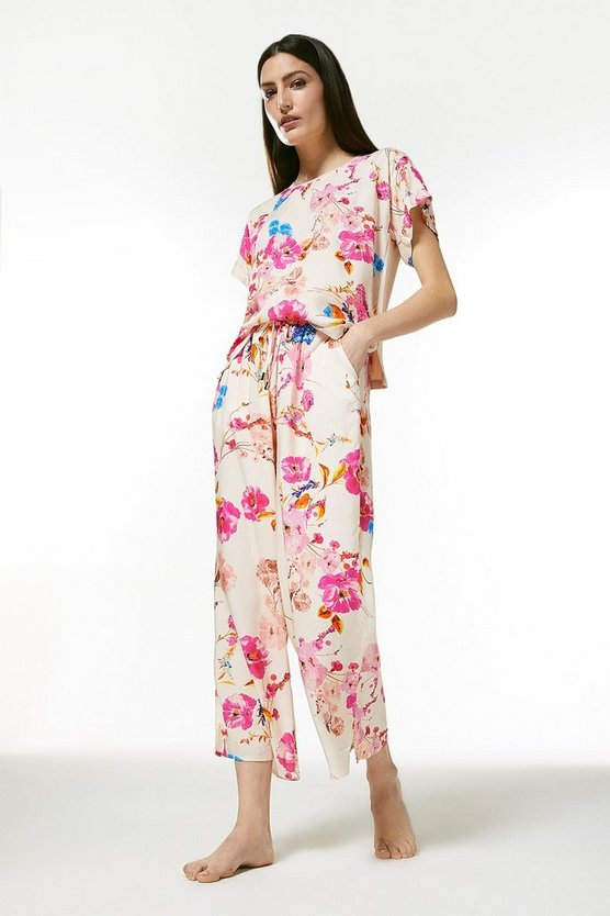 Cream Floral Nightwear Jersey Back Top