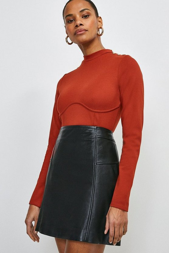 Rust Rivet Shoulder Seamed Ponte Top