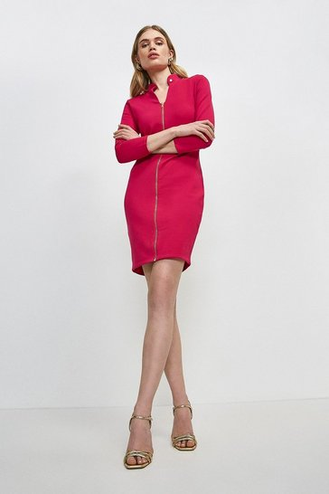 Bright pink Stud Collar Zip Front Ponte Dress