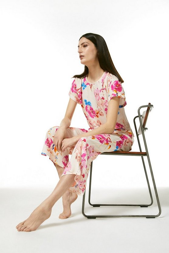 Cream Floral Nightwear Culottes
