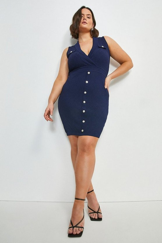 Navy Curve Quilt Stitch Military Knitted Dress