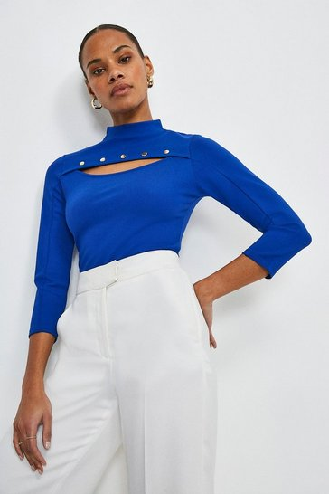 Cobalt Rivet Cutout Ponte Top