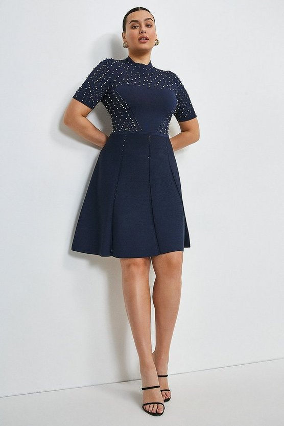 Navy Curve Embellished Pointelle Knitted Dress