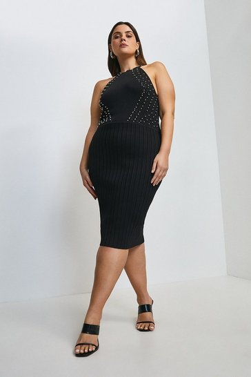 Black Curve Embellished Knit Halter Neck Dress