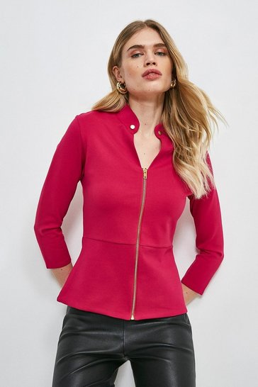 Bright pink Studded Collar Ponte Zip Front Top