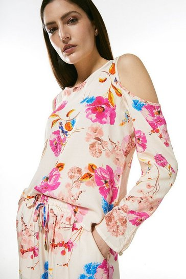 Cream Floral Cold Shoulder Nightwear Top