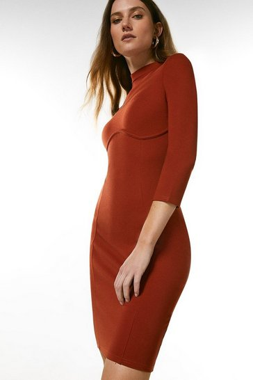 Rust Rivet Shoulder Seamed Ponte Dress