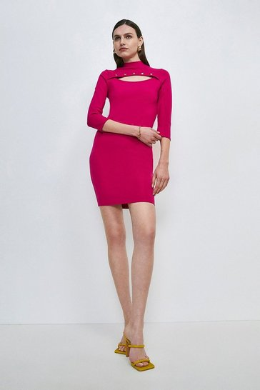 Bright pink Rivet Cutout Ponte Dress