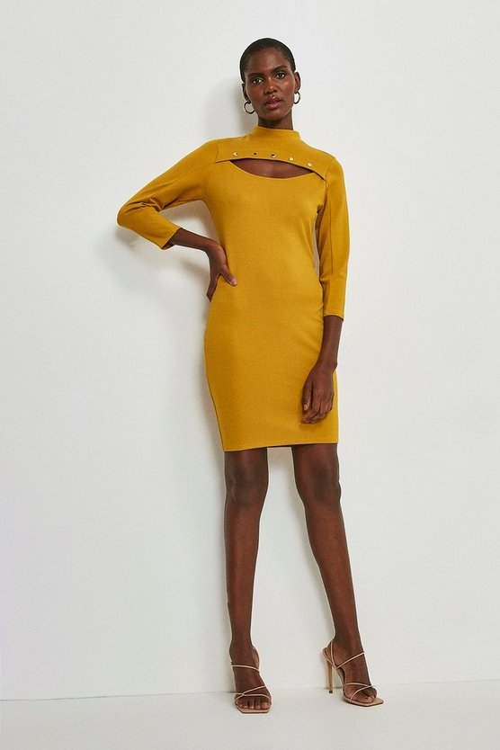 Ochre Rivet Cutout Ponte Dress
