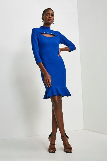 Cobalt Rivet Cutout Ruffle Hem Ponte Dress
