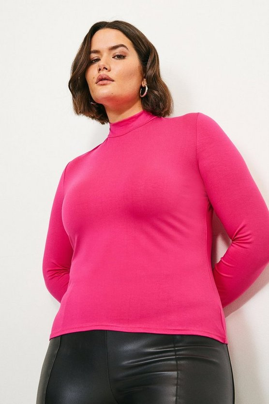 Pink Curve Viscose Jersey Funnel Neck Top