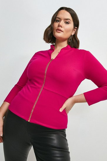 Bright pink Curve Studded Collar Ponte Zip Front Top