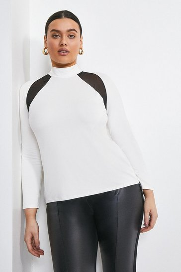 Ivory Curve Viscose Jersey And Mesh Insert Top