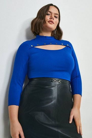 Cobalt Curve Rivet Cutout Ponte Top
