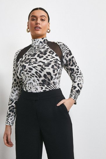 Animal Curve Snow Leopard Jersey And Mesh Top