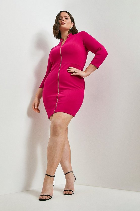 Bright pink Curve Stud Collar Zip Front Ponte Dress