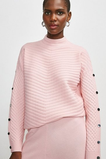Blush Lounge Textured Stitch Jumper With Metal Trim