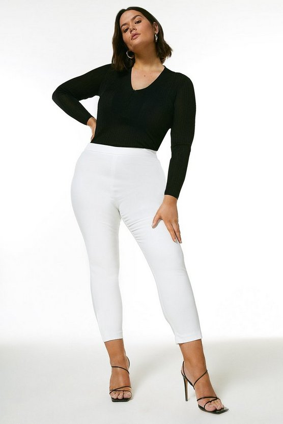 Ivory Curve Essential Cotton Sateen Crop Trouser