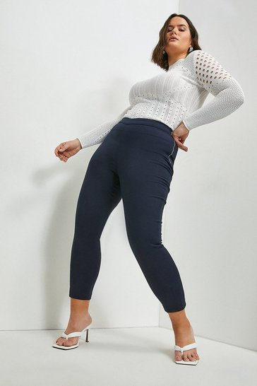 Navy Curve Essential Techno Cotton Crop Trouser