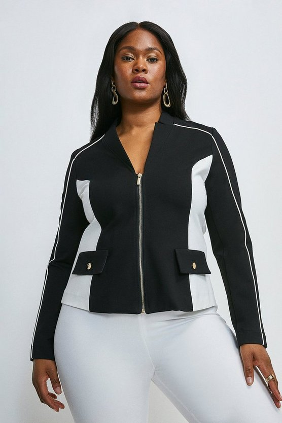 Mono Curve Notch Neck Colour Block Ponte Blazer