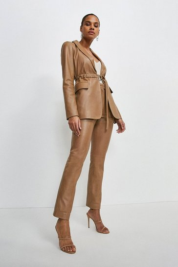 Tan Leather Seam Detail Trouser