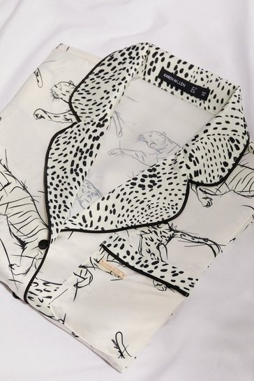 Ivory Tiger Print Satin Revere Nightwear Top