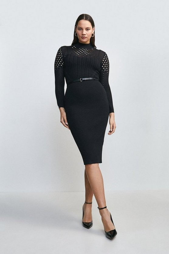 Black Curve Belted Pointelle Knitted Dress