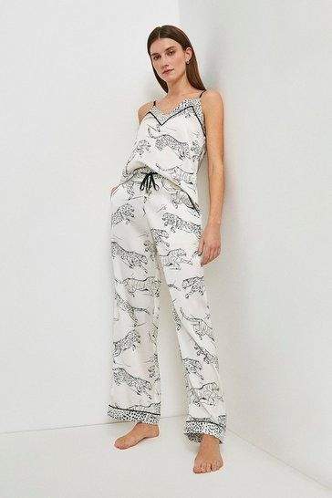 Ivory Tiger Print Satin Nightwear Trouser