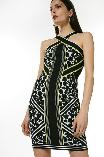 Multi Jacquard Knitted Bandage Fitted Dress