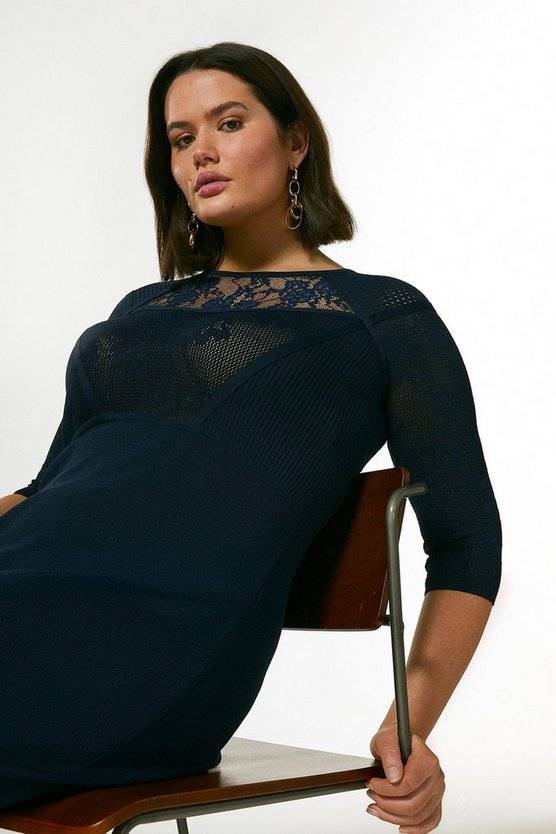 Navy Curve Pointelle Lace Insert Knit Dress