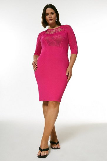 Pink Curve Pointelle Lace Insert Knit Dress