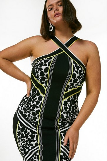 Multi Curve Jacquard Knitted Bandage Fitted Dress
