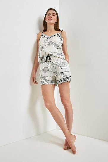 Ivory Tiger Print Satin Nightwear Shorts