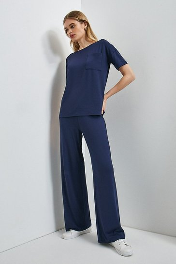 Navy Lounge Viscose Jersey Wide Leg Trousers