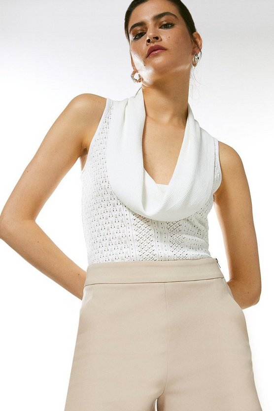 Cream Cowl Neck Pointelle Knitted Top
