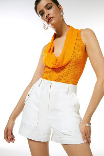 Orange Cowl Neck Pointelle Knitted Top